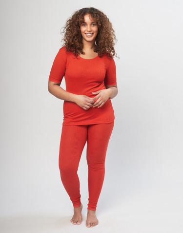 Legging en laine mérinos côtelée pour femme- Rouge