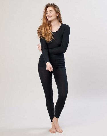 Legging en laine mérinos côtelée pour femme noir