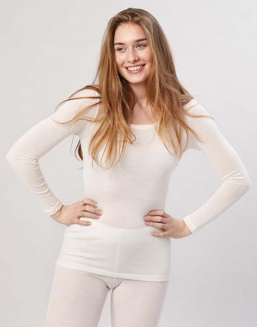Tricot de peau à manches longues, en laine mérinos, pour femme Naturel