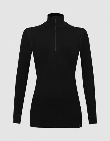 Tee-shirt à manches longues à col haut et demi-zip Noir