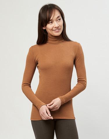 T-shirt à col roulé en laine mérinos côtelée caramel