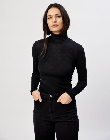 T-shirt à col roulé en laine mérinos noir