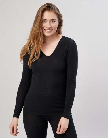 T-shirt à manches longues avec col en v noir