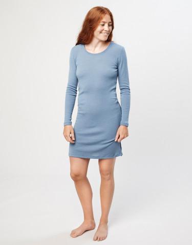 Robe de nuit en laine mérinos bleu