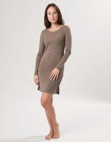 Robe à manches longues en laine mérinos pour femme