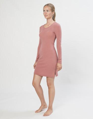 Robe de nuit en laine mérinos rose