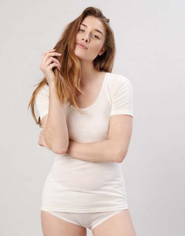 Tee-shirt en laine mérinos pour femme Naturel