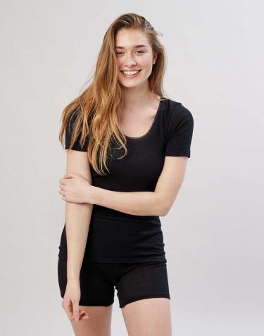Tee-shirt en laine mérinos pour femme Noir