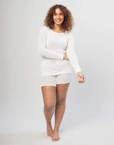 Short en laine mérinos pour femme avec une large bande élastique naturel
