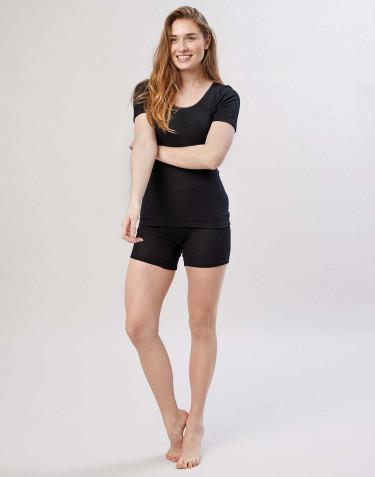 Short en laine mérinos pour femme avec une large bande élastique noir