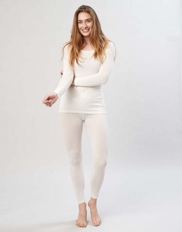 Legging en laine mérinos pour femme avec une large bande élastique naturel