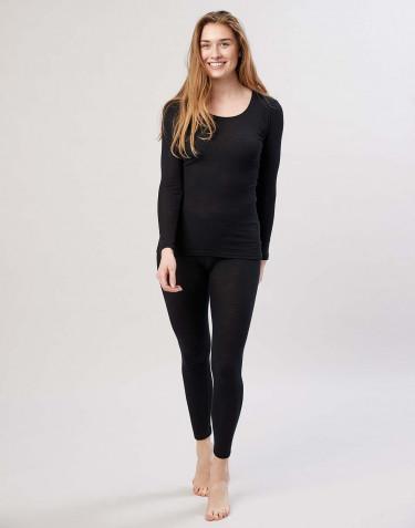 Legging en laine mérinos pour femme avec une large bande élastique noir
