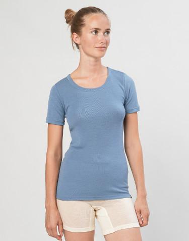 T-shirt en laine mérinos pour femme bleu