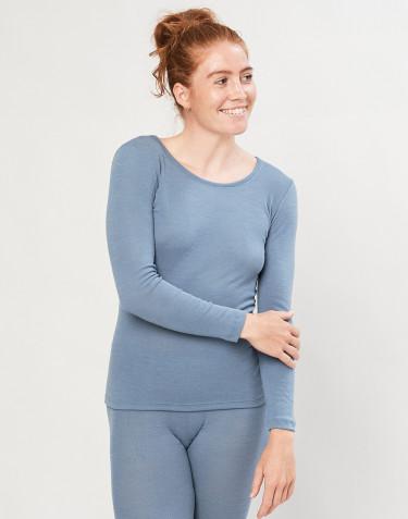 T-shirt à manches longues en laine mérinos bio bleu