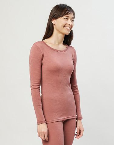 T-shirt à manches longues en laine mérinos rose