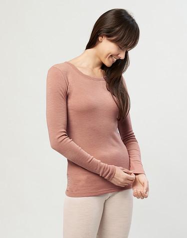 T-shirt à manches longues pour femme - laine mérinos 100% bio rose poudré
