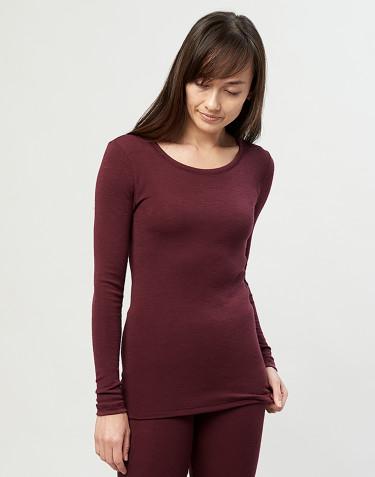 T-shirt à manches longues pour femme - laine mérinos bio rouge noël