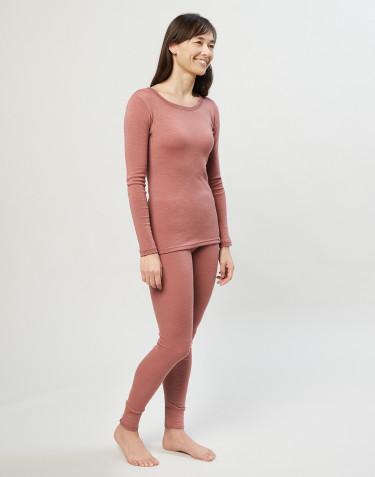 Legging en laine mérinos pour femme rose