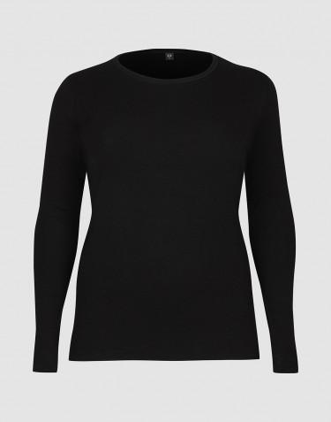Tricot de peau à manches longues grande taille DILLING en laine pour femme Noir