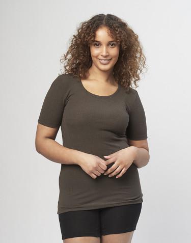 T-shirt pour femme en laine mérinos côtelée chocolat