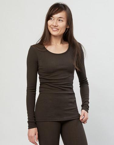 T-shirt pour femme en laine mérinos côtelée chocolat noir