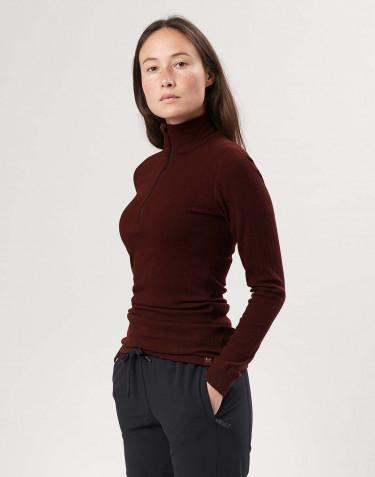 T-shirt zippé à manches longues en laine mérinos pour femme