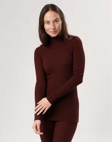 T-shirt à manches longues et col montant en laine mérinos pour femme