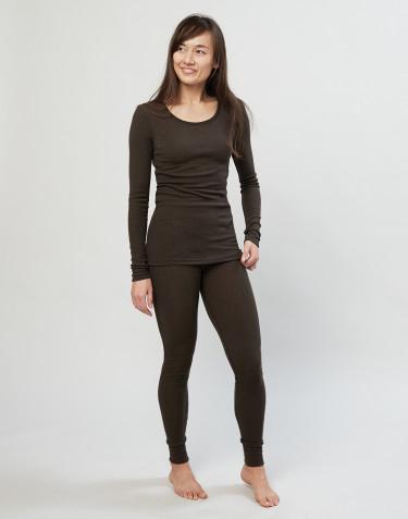 Legging en laine mérinos côtelée pour femme chocolat noir
