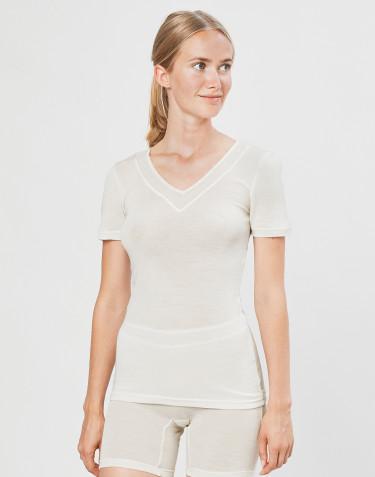 Tee-shirt en laine et soie pour femme Naturel