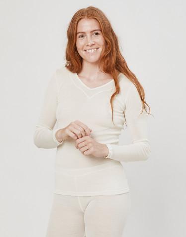Tee-shirt à manches longues en laine et soie pour femme Naturel