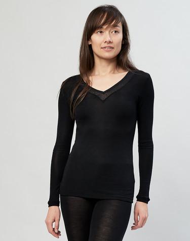 Tee-shirt à manches longues en laine et soie pour femme Noir
