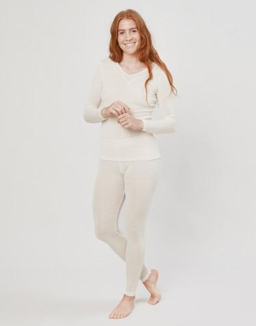 Legging en laine et soie pour femme Naturel