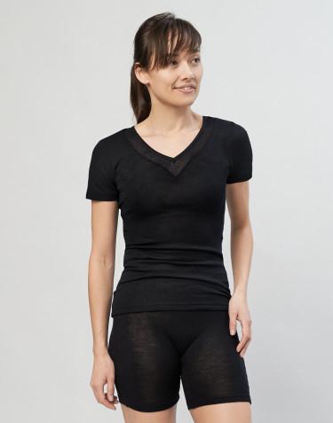 Tee-shirt en laine et soie pour femme Noir