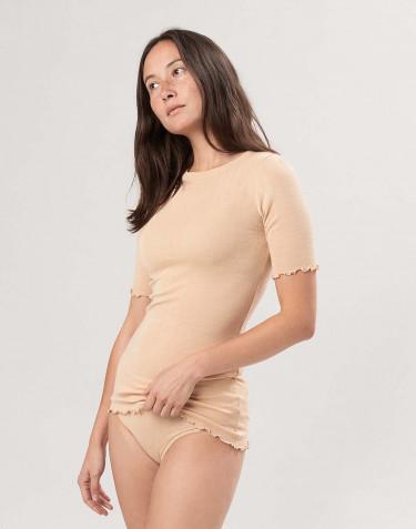 T-shirt effet pointelle en laine mérinos et soie femme