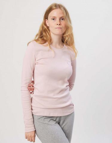Haut de pyjama en coton pour femme Rose