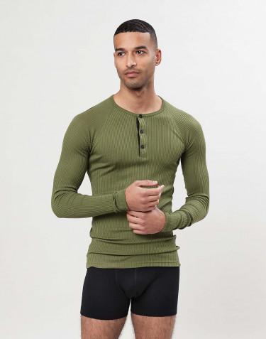 T-shirt à manches longues en laine mérinos pour homme