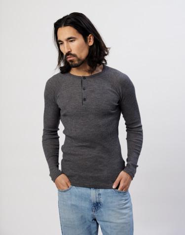Tricot de peau en laine mérinos côtelée pour homme, mélange de gris foncés