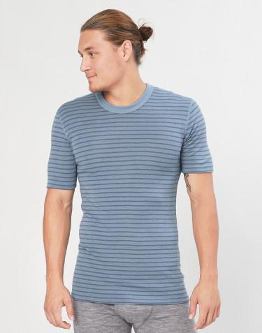 T-shirt en laine mérinos pour homme bleu rayé