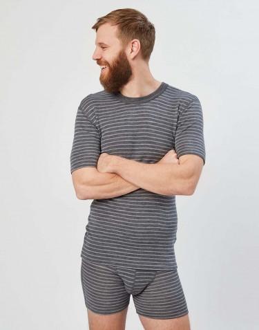 T-shirt en laine mérinos pour homme gris rayé