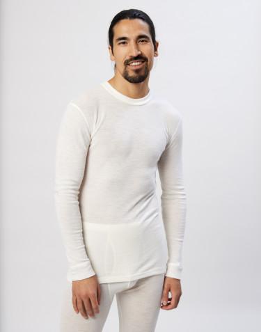 Tee-shirt à manches longues en laine mérinos pour homme Naturel