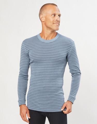T-shirt à manches longues en laine mérinos pour homme bleu rayé