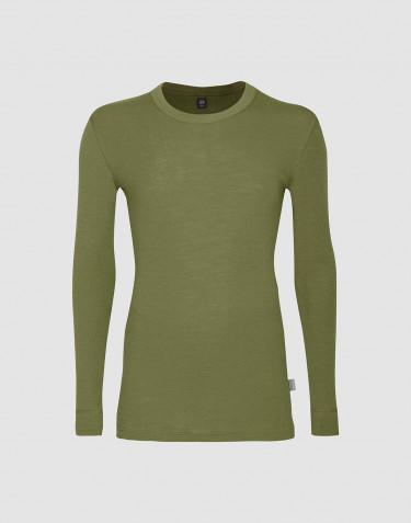 T-shirt à manches longues pour homme en laine mérinos - Vert avocat
