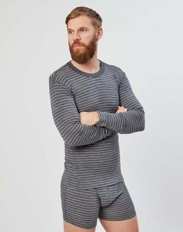 Tee-shirt à manches longues en laine mérinos pour homme gris rayé
