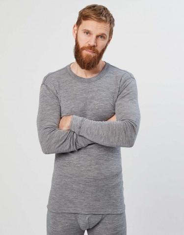 Tee-shirt à manches longues en laine mérinos pour homme Mélange de gris