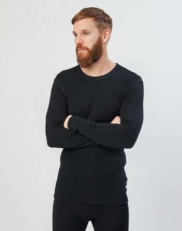 Tee-shirt à manches longues en laine mérinos pour homme Noir