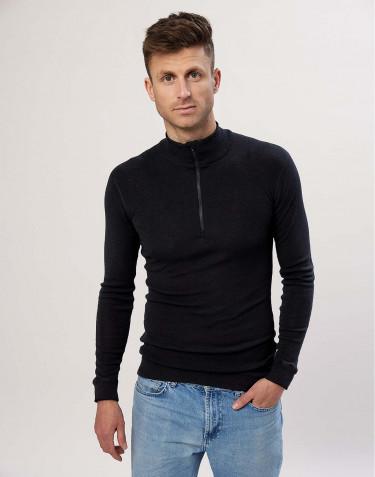 T-shirt à manches longues et demi-zip pour homme, en laine mérinos noir