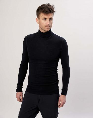 T-shirt à manches longues et col roulé pour homme Noir