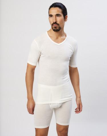 Tee-shirt en laine mérinos à col V pour homme Naturel