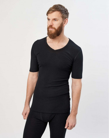 Tee-shirt en laine mérinos à col V pour homme Noir