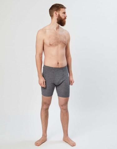 Short en laine mérinos avec braguette élastique pour homme gris rayé
